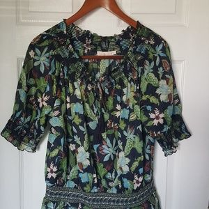 Tory Burch Smocked Peasant Top size 6